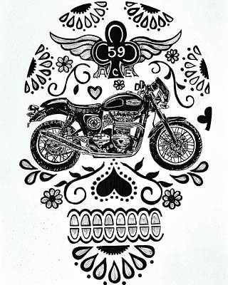 Ace Cafe Sugar Skull Poster by John Parish