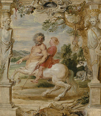 Achilles Educated By The Centaur Chiron Poster by Peter Paul Rubens