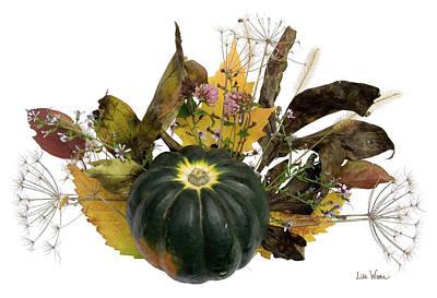 Poster featuring the digital art Acorn Squash Bouquet by Lise Winne