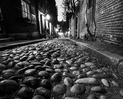 Acorn Street Cobblestone Detail Boston Ma Black And White Poster