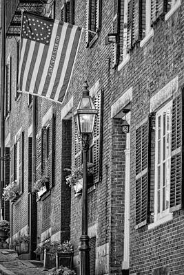 Acorn Street Details Bw Poster by Susan Candelario