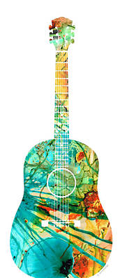 Acoustic Guitar 2 - Colorful Abstract Musical Instrument Poster by Sharon Cummings
