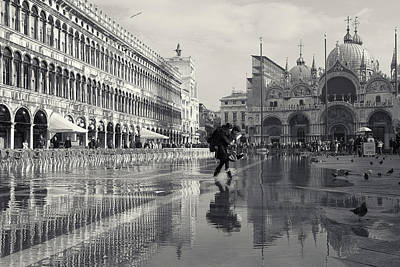 Poster featuring the photograph Acqua Alta, Piazza San Marco, Venice, Italy by Richard Goodrich