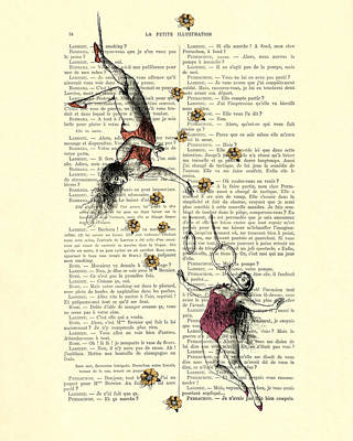 Acrobatics Women Circusact Vintage Illustration On Book Page Poster by Madame Memento