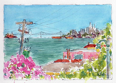 Poster featuring the painting Across The Bay From Sausalito by Pat Katz