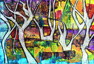Poster featuring the painting Acrylic Forest  by Ariadna De Raadt