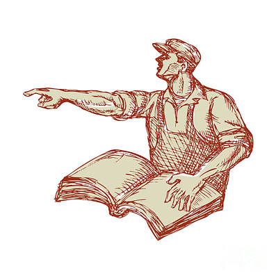 Activist Union Worker Pointing Book Drawing Poster