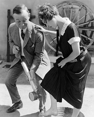 Actress Gets Feet Sprayed Poster by Underwood Archives