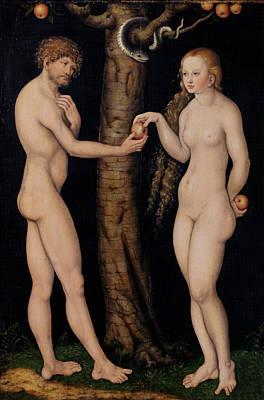 Adam And Eve In The Garden Of Eden Poster by The Elder Lucas Cranach