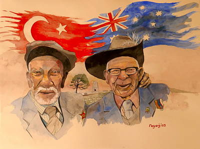 Poster featuring the painting Adil Sahin And Len Hall by Ray Agius