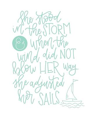 Adjusted Her Sails Poster by Nancy Ingersoll