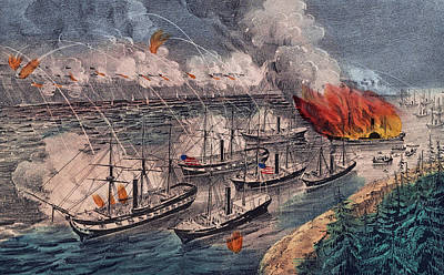 Admiral Farragut's Fleet Engaging The Rebel Batteries At Port Hudson Poster by American School