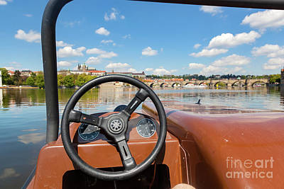 Admiring Prague From Paddle Boat On Vltava River In Prague, Czech Republic. Popular Tourist Attraction Poster