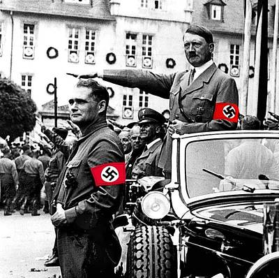 Adolf Hitler Giving The Nazi Salute From A Mercedes #3 C. 1934-2015 Poster