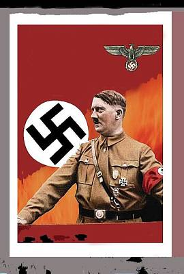 Adolf Hitler In Color With Nazi Symbols Unknown Date Additional Color Added 2016 Poster