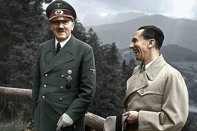 Adolf Hitler Joseph Goebbels Berghof Retreat  Number 2 Agfacolor Heinrich Hoffman Photo Circa 1942 Poster