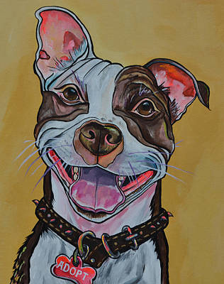 Poster featuring the painting Adopt A Pit Bull by Patti Schermerhorn