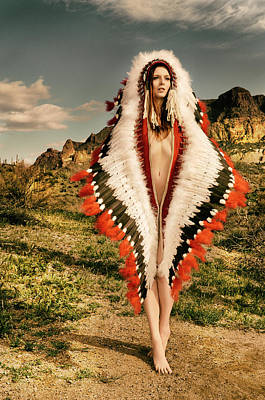 Adorned Feathered Nude Poster