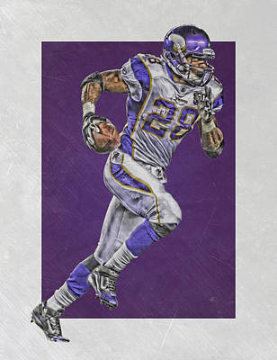 Adrian Peterson Minnesota Vikings Art 6 Poster by Joe Hamilton