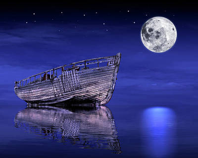 Poster featuring the photograph Adrift In The Moonlight - Old Fishing Boat by Gill Billington