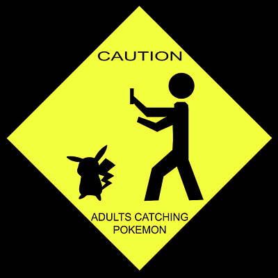 Poster featuring the digital art Adults Catching Pokemon 2 by Shane Bechler