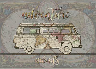 Adventure Awaits World Map Design 4 Poster