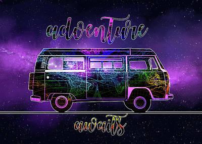 Adventure Awaits World Map Design 6 Poster