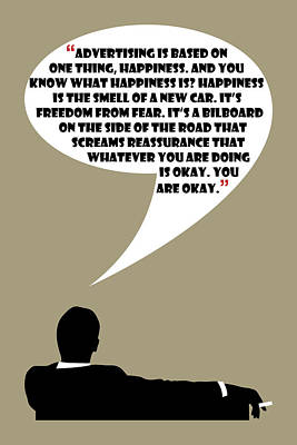 Advertising Is Happiness - Mad Men Poster Don Draper Quote Poster