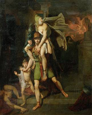 Aeneas Fleeing With His Father Poster