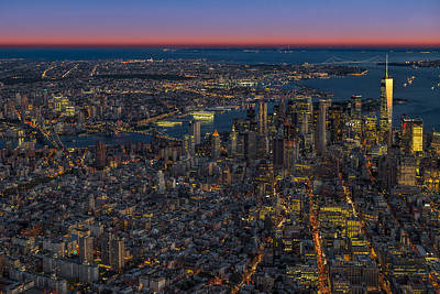 Aerial New York City Sunset Poster by Susan Candelario