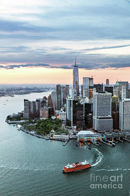 Aerial Of Lower Manhattan Skyline With Staten Island Ferry Boat, Poster