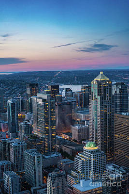 Aerial Seattle Downtown Buildings Poster