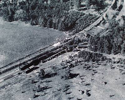 Poster featuring the photograph Aerial Train Wreck by Jeanne May