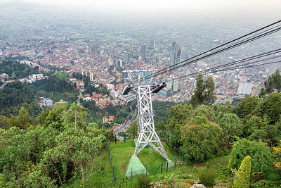 Aerial Tramway And Bogota, Colombia Poster
