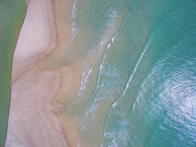 Aerial View Of Beach And Wave Patterns Poster