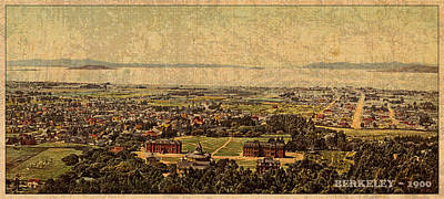 Aerial View Of Berkeley California In 1900 On Worn Distressed Canvas Poster