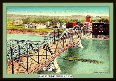 Aerial View Of Lake St. Bridge, Elmira 1907 Poster by Dwight GOSS