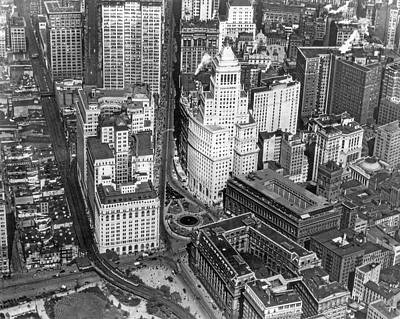 Aerial View Of Lower Manhattan Poster