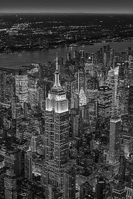 Aerial View Of The Empire State Building Bw Poster by Susan Candelario