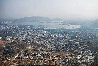 Poster featuring the photograph Aeriel View Of Udaipur From Monsoon Palace by Yew Kwang