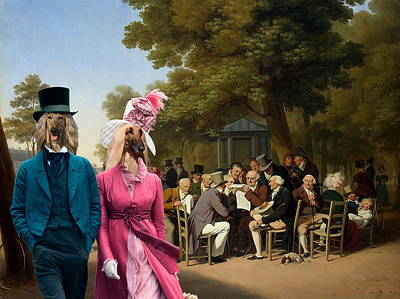 Afghan Hound-politicians In The Tuileries Gardens  Canvas Fine Art Print Poster