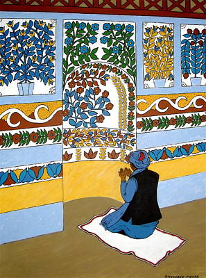 Poster featuring the painting Afghan Mosque by Stephanie Moore