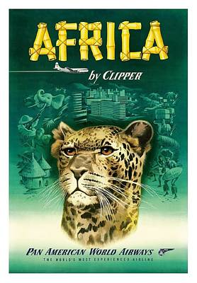 Africa Cheetah Pan American  Vintage Airline Travel Poster Poster by Retro Graphics