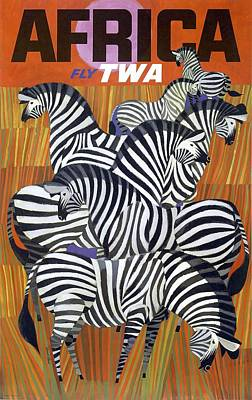 Africa Zebras Trans World Airlines Fly Twa Poster