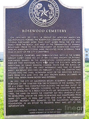 African-american Cemetary Marker, Galveston, Texas Poster by Chuck Taylor