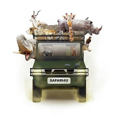 African Animals In Safari Tour Vehicle Poster by Susan Schmitz