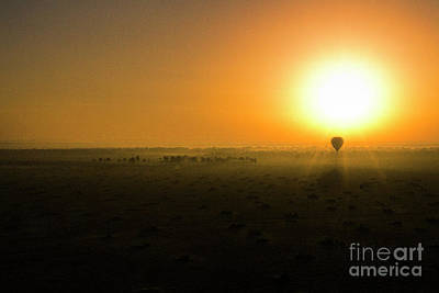 Poster featuring the photograph African Balloon Sunrise by Karen Lewis