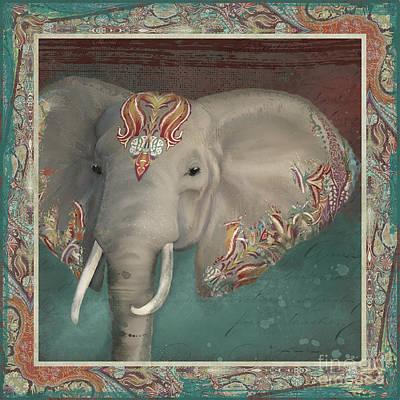 African Bull Elephant - Kashmir Paisley Tribal Pattern Safari Home Decor Poster