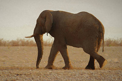 Poster featuring the digital art African Elephant Walk by Ernie Echols