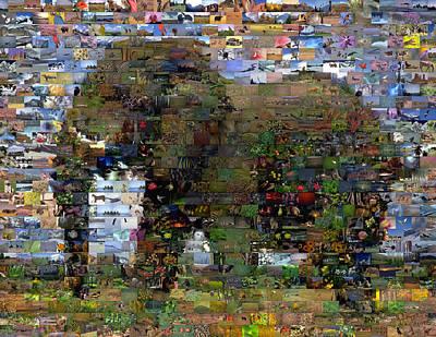 African Elephant Wild Animal Mosaic Poster by Paul Van Scott